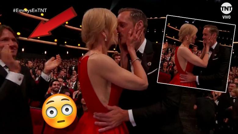 ¡Tremendo momento en los Emmy 2017! Nicole Kidman besó en vivo al galán del momento… ¡delante de su marido!
