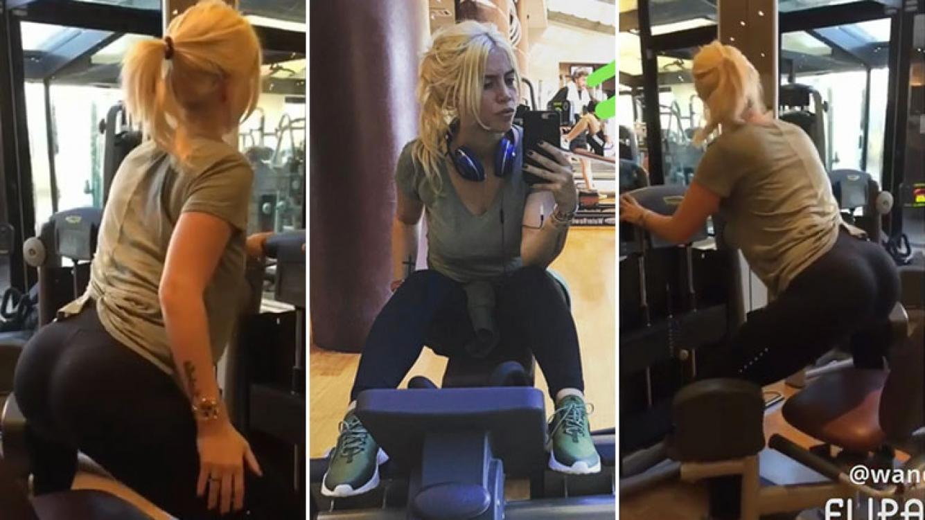"""El video de Wanda Nara """"matándose"""" en el gimnasio: así mantiene su ..."""