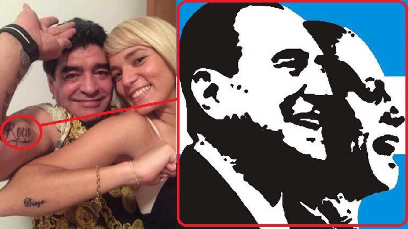 Diego Maradona se tapará el tatuaje dedicado a Rocío Oliva en su biceps con los rostros de Perón y Evita