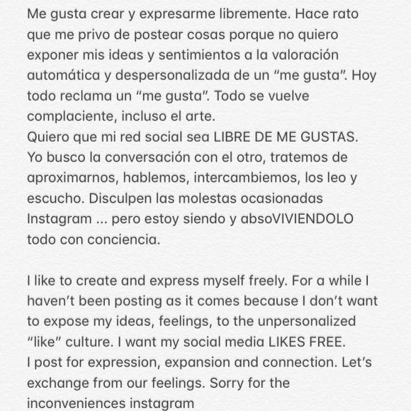 """Contundente posteo de Calu Rivero donde discute el uso de Instagram: """"Hoy todo reclama un 'me gusta'"""""""