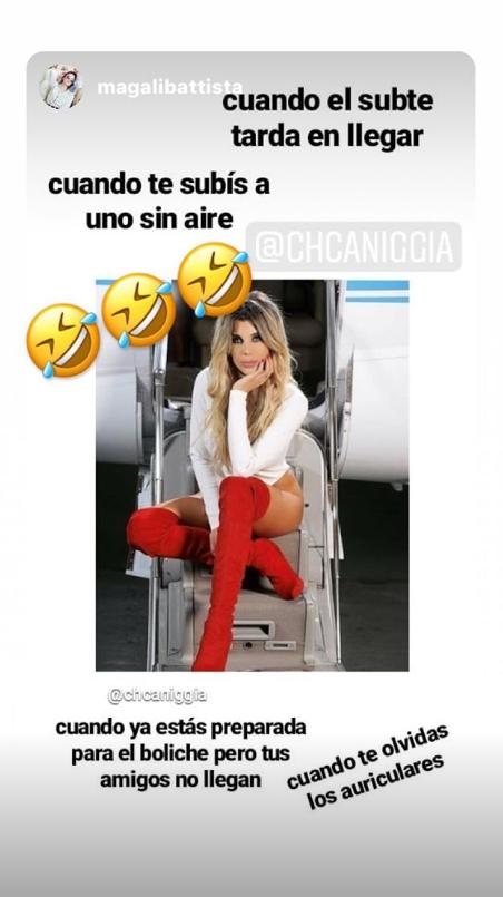 Charlotte Caniggia y un look súper sexy arriba de un avión: portaligas, body ultra cavado… ¡y memes!