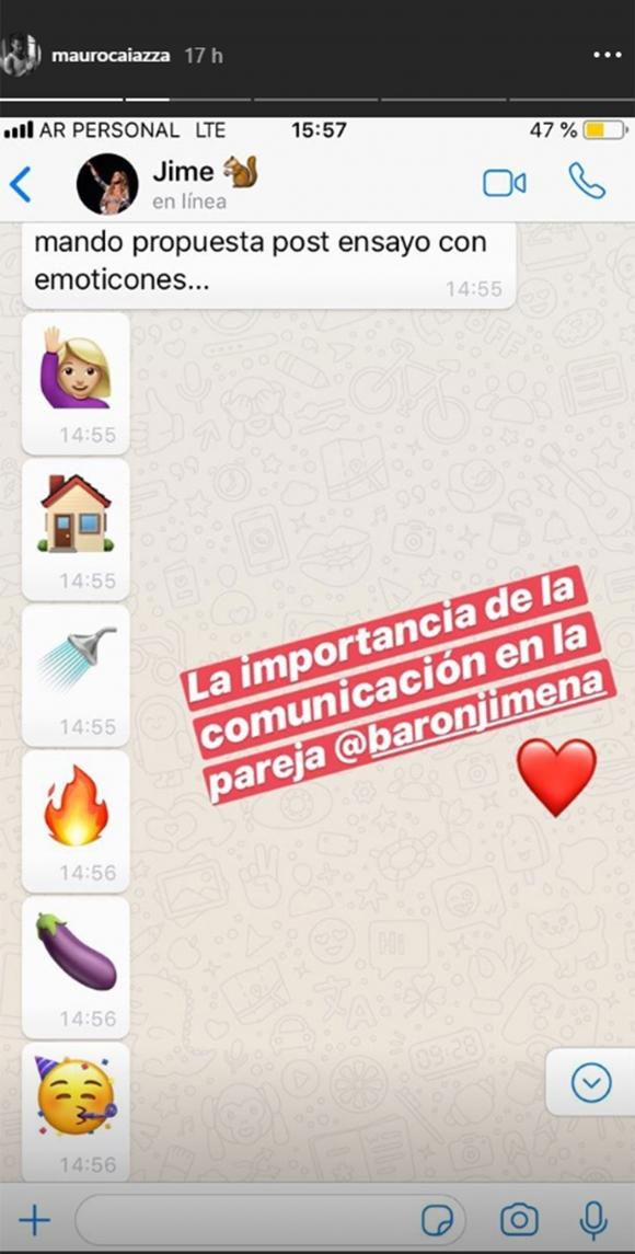 Mauro Caiazza mostró la propuesta ¡súper hot! que le hizo Jimena Barón por WhatsApp