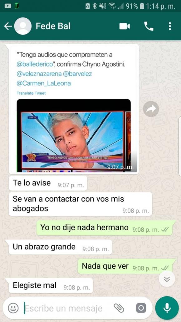 Tras revelar que tiene audios que comprometerían a Fede Bal, Chyno Agostini compartió supuestos chats con el actor