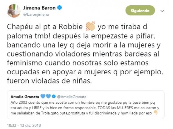La filosa respuesta de Jimena Barón a Amalia Granata tras recordar su affaire con Robbie Williams