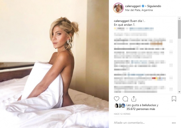 """La foto hot de Cande Ruggeri desnuda sobre la cama: """"¡Buen día!"""""""