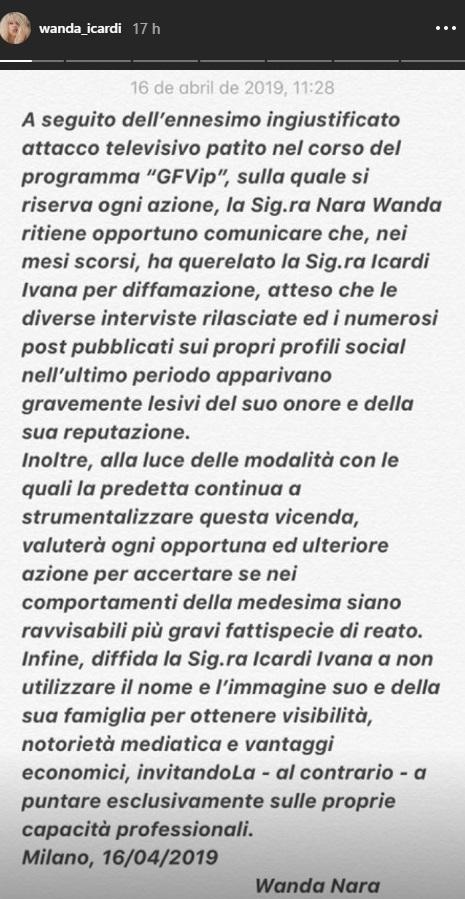 Wanda Nara demandó a Ivana Icardi por difamación, tras sus lapidarias declaraciones en Gran Hermano Italia