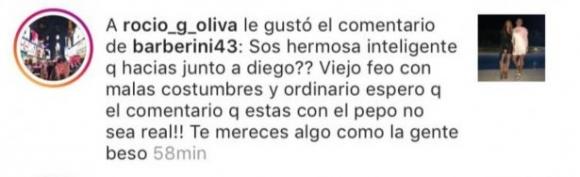 """¡Todo mal! Fuerte """"me gusta"""" de Rocío Oliva al comentario de una seguidora que llama a Maradona """"viejo feo"""""""