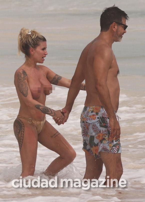 Las increíbles vacaciones de Florencia Peña y su marido: topless en las playas de Tulum. (Foto: Grosby)