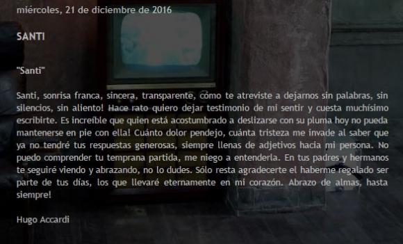 Emotivo mensaje del pap de gimena accardi a santiago for Ciudad com ar espectaculos