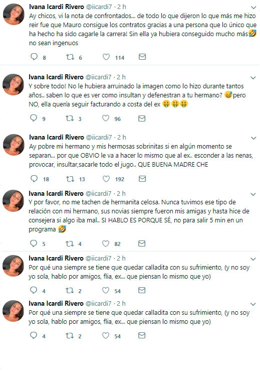 """Los nuevos y tremendos tweets de Ivana Icardi contra Wanda Nara: """"A mi hermano, le arruinó la imagen"""""""