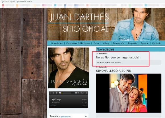 Hackearon el sitio oficial de Juan Darthés: el mensaje que le dejaron