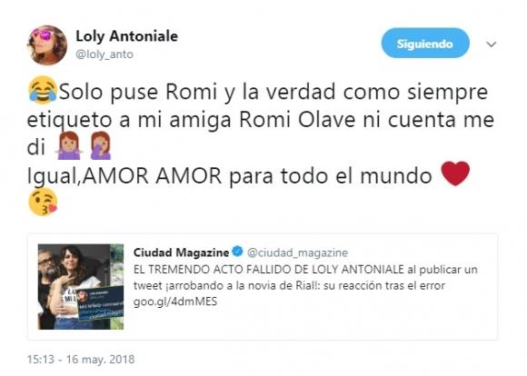 ¿Stalker?: Loly Antoniale etiquetó en Twitter a la nueva novia de Rial