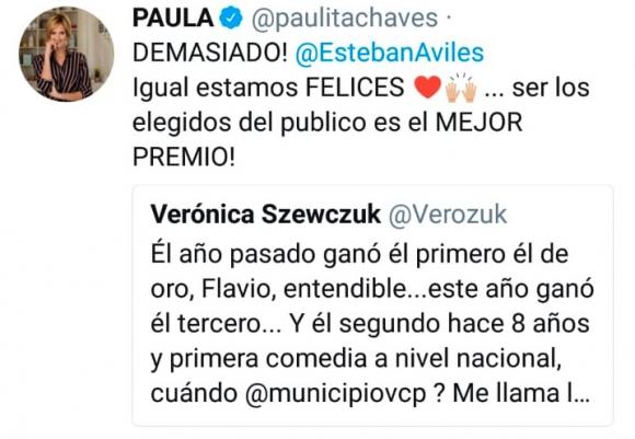 """El enojo de Paula Chaves con los Premios Carlos 2019: """"Igual, ser elegidos por público es el mejor premio"""""""