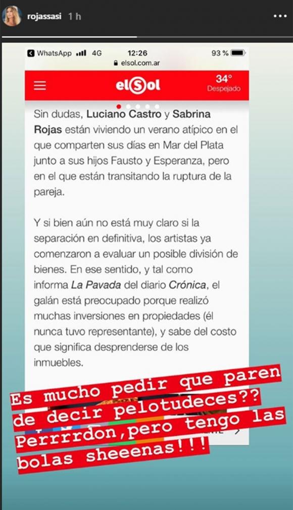 """La versión sobre su divorcio de Luciano Castro que enfureció a Sabrina Rojas: """"¿Es mucho pedir que…?"""""""