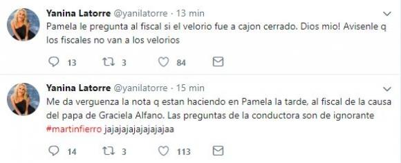Polémicos tweets de Yanina Latorre contra Pamela David mientras hacía una entrevista: