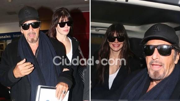 Al Pacino y Lucila Polak llegaron el jueves a la mañana a Ezeiza. (Foto: Ciudad.com - Movilpress)