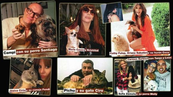 Los famosos presentaron a sus simpáticas mascotas. (Fotos: revista Gente)