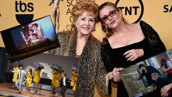 Multitudinario homenaje a Debbie Reynolds y Carrie Fisher en Hollywood. Foto: AFP.