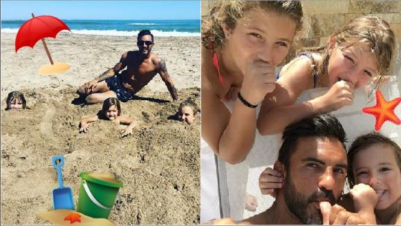 Fabián Cubero y sus fotos playeras, divertidísimo junto a sus hijas: Listo, ahora sí, ya no joden más