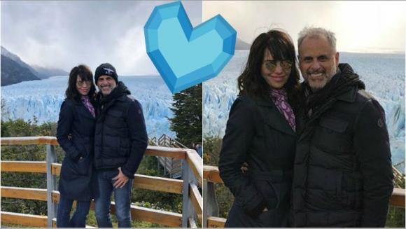 ¡Enamorados! Las románticas fotos de Jorge Rial y Romina Pereiro en Calafate: Pura belleza y atrás el Glaciar...