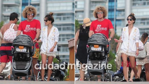 ¡Paseos en familia! Rulo y Gabriela Sari, día de relax junto a Donna en las calles de Punta del Este