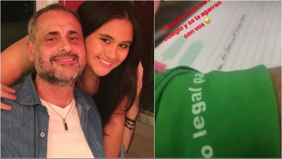 La defensa de Rial a su hija Rocío, que fue al colegio con pañuelo verde en apoyo al aborto libre y gratuito