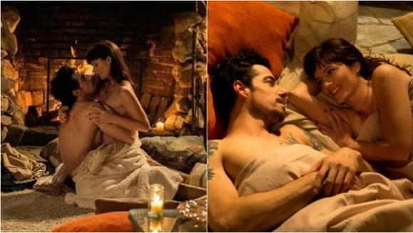 La romántica escena de amor de Griselda Siciliani y Esteban Lamothe en Educando a Nina. Foto: Telefe