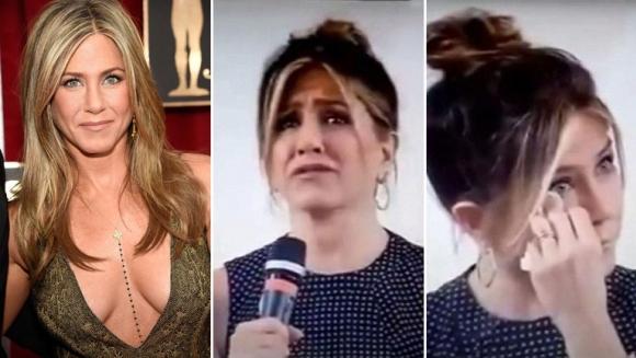 El llanto de Jennifer Aniston en una conferencia de prensa