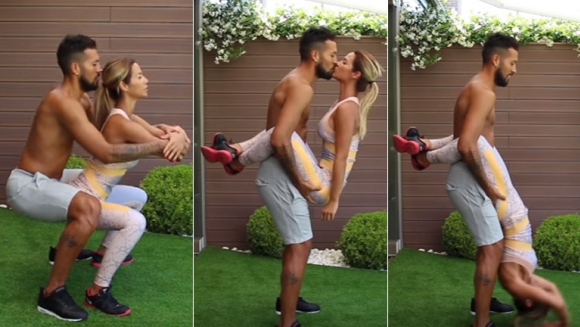El entrenamiento hot de Tamara Gorro y Ezequiel Garay (Foto: YouTube)