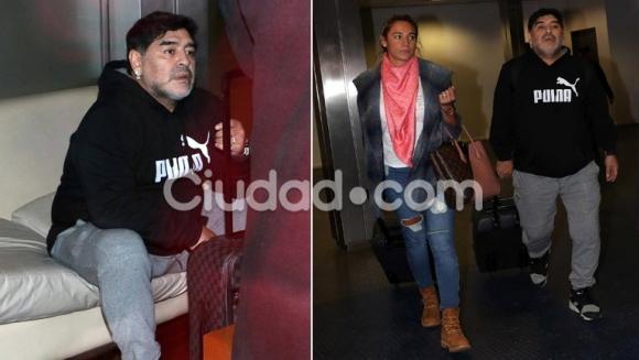 Diego Maradona, en Ezeiza junto a Rocío Oliva. No pudo viajar porque su pasaporte figuraba denunciado por robo. (Fotos: Movilpress)