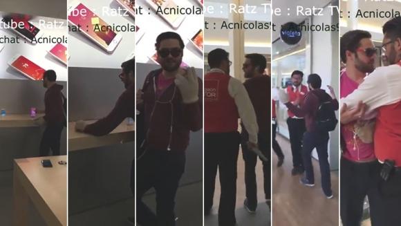 El video viral del hombre que destrozó los iPhones de un local de Apple en Francia.