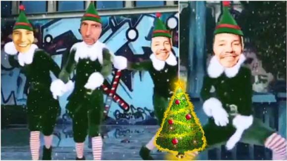 El divertido navideño de Marcelo Tinelli junto a su primo e hijo mayor (Fotos: Captura)