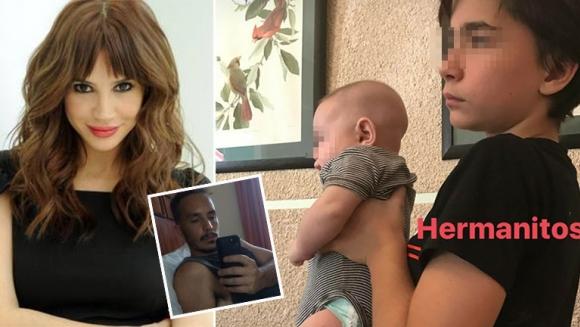 La foto súper tierna del hijo mayor de Celeste Cid con su hermanito de tres meses a upa (Foto: Instagram)