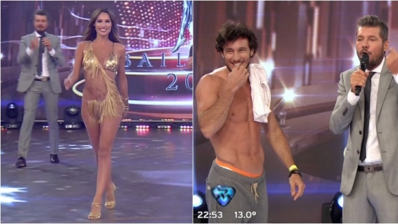 Pampita y su vestuario súper hot para la salsa de a tres en ShowMatch... ¡y Pico Mónaco terminó sin remera! Foto: Captura