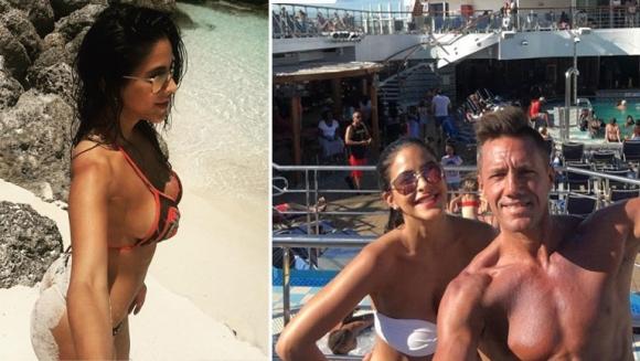 El lomazo de Celeste Muriega, junto a Alejo Clérici en Bahamas. Foto: Instagram.