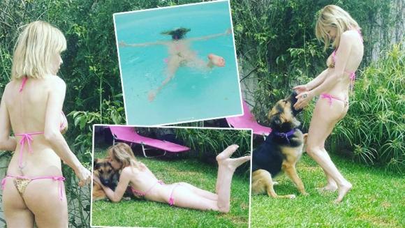 Inés Estévez, día de relax y pileta