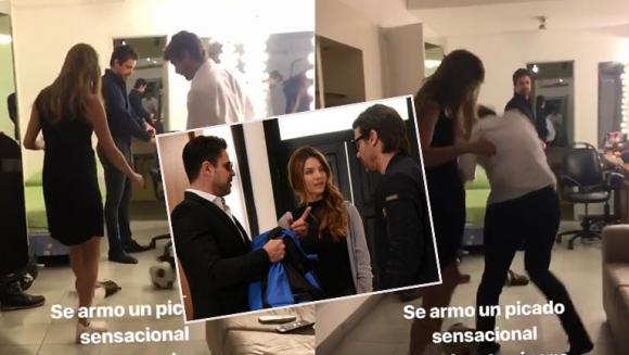 Marcela Kloosterboer, Luciano Castro y Pedro Alfonso en un picadito
