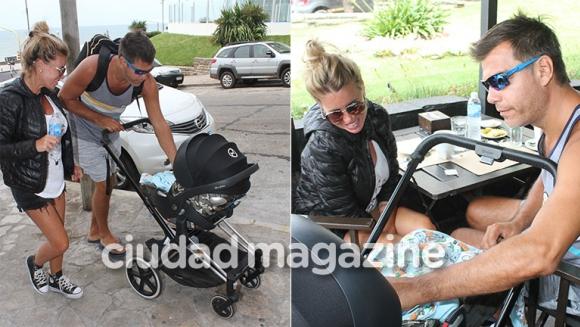 Flor Peña y Ramiro Ponce de León, de paseo con su bebé en Mar del Plata (Fotos: GM Press)