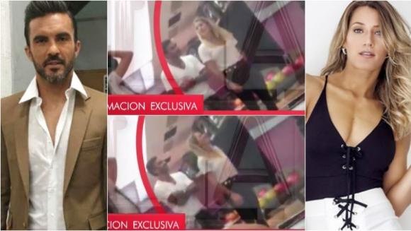 Mica Viciconte y Fabián Cubero, juntos jugando al bowling en un shopping