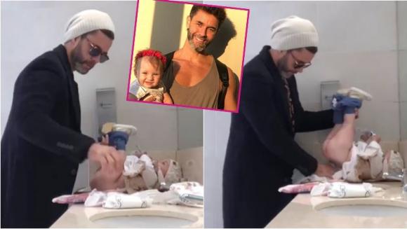 Mariano Martinez mostró cómo le cambia el pañal a su hija