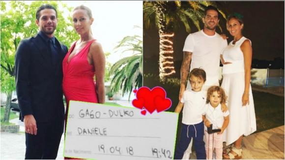Fernando Gago y Gisela Dulko fueron papás por tercera vez (Fotos: Instagram)