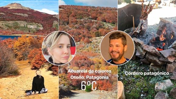 Las postales otoñales de Marcelo Tinelli y Guillermina Valdés en Esquel