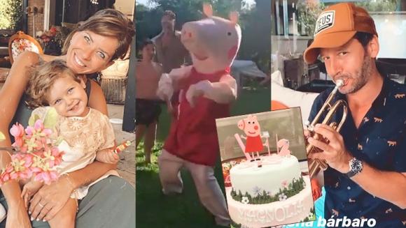La intimidad del cumpleaños de Magnolia: la China Suárez bailó disfrazada de Peppa y Vicuña tocó la trompeta
